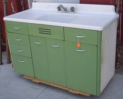 Vintage Retro Metal Kitchen Cabinet Cast Iron Sink Ebay