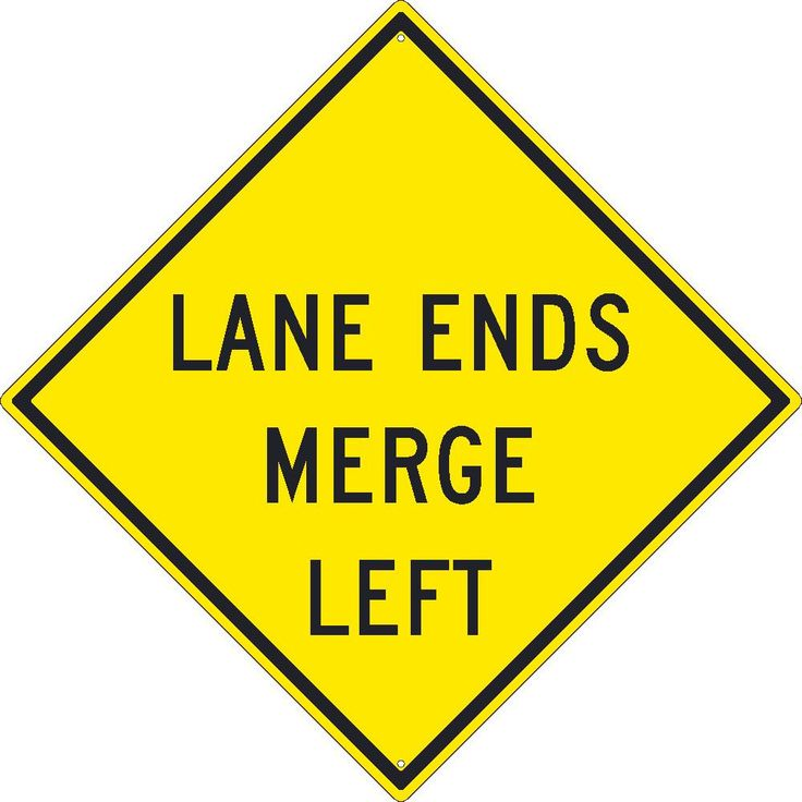 "Lane Ends Merge Left, National Marker TM260K, 30""x30"", Black On Yellow, 85 Percent Recycled .080"" High Intensity Reflective Aluminum Surface and Roadway Warning Sign With 2 Holes For Post Mounting - Each"