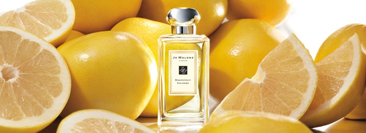 Jo Malone.  Grapefruit Collection.  Abundant grapefruit groves in coastal Spain. Rosemary, peppermint and pimento add perfect piquancy to grapefruit's bright and sunny nature. Uplifting and refreshing.
