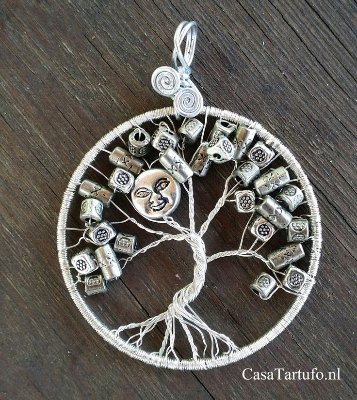 Wire Tree Pendant. 13 Siverlwite with metal funny breads and metal moon. (4 cm)…
