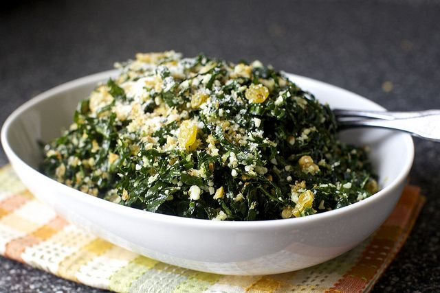 Kale salad with bread crumbs and raisins  By smitten kitchen