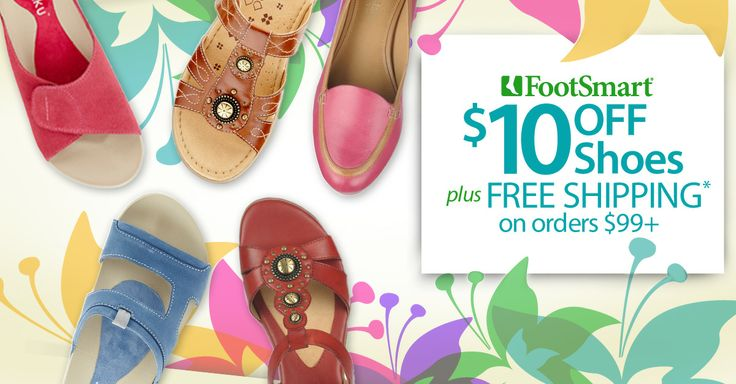 One sweet deal! Save on great new shoes for warmer days ahead. Save $10 OFF + FREE SHIPPING on orders $99+. Use code: PN10SHOEOrder 99, Free Ships, Saving 10, Sweets Deals, Footsmart Saving, Shoes Stores, Woman Shoes, New Shoes