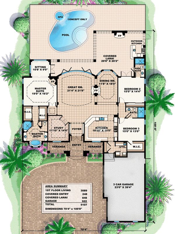 Large Single Story House Plans Florida Lania on