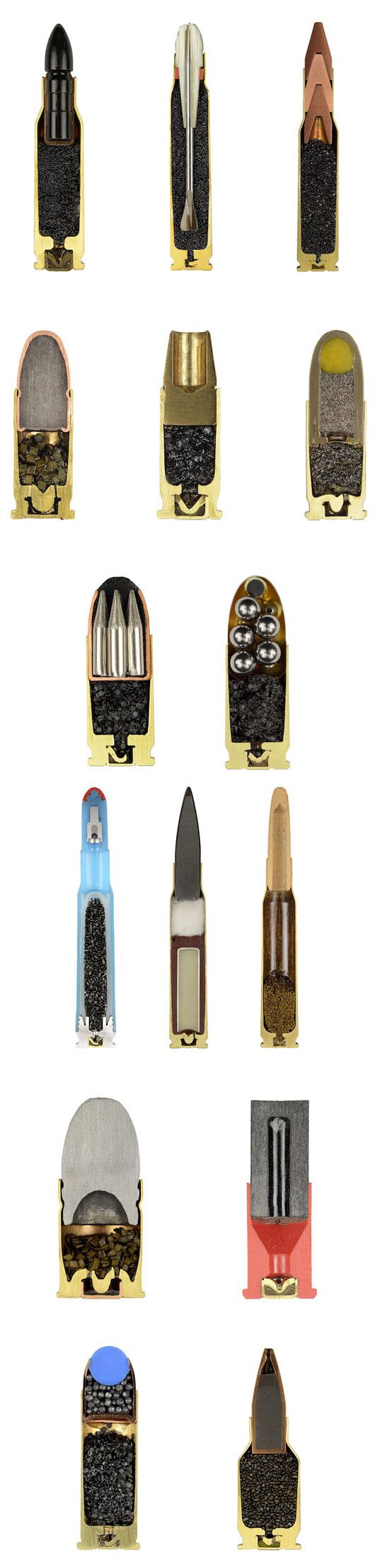 Cross-view of some common bullet types, to demonstrate the different projectiles used to kill, maim or cripple one's enemy.