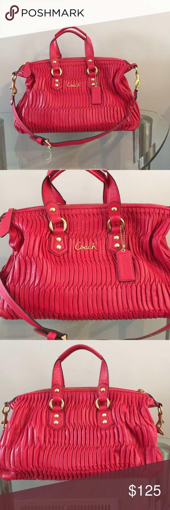 HOT PINK Medium leather Coach purse 👛 Used just a few times, in very good condition 12' long and 9'h. Coach Bags Satchels