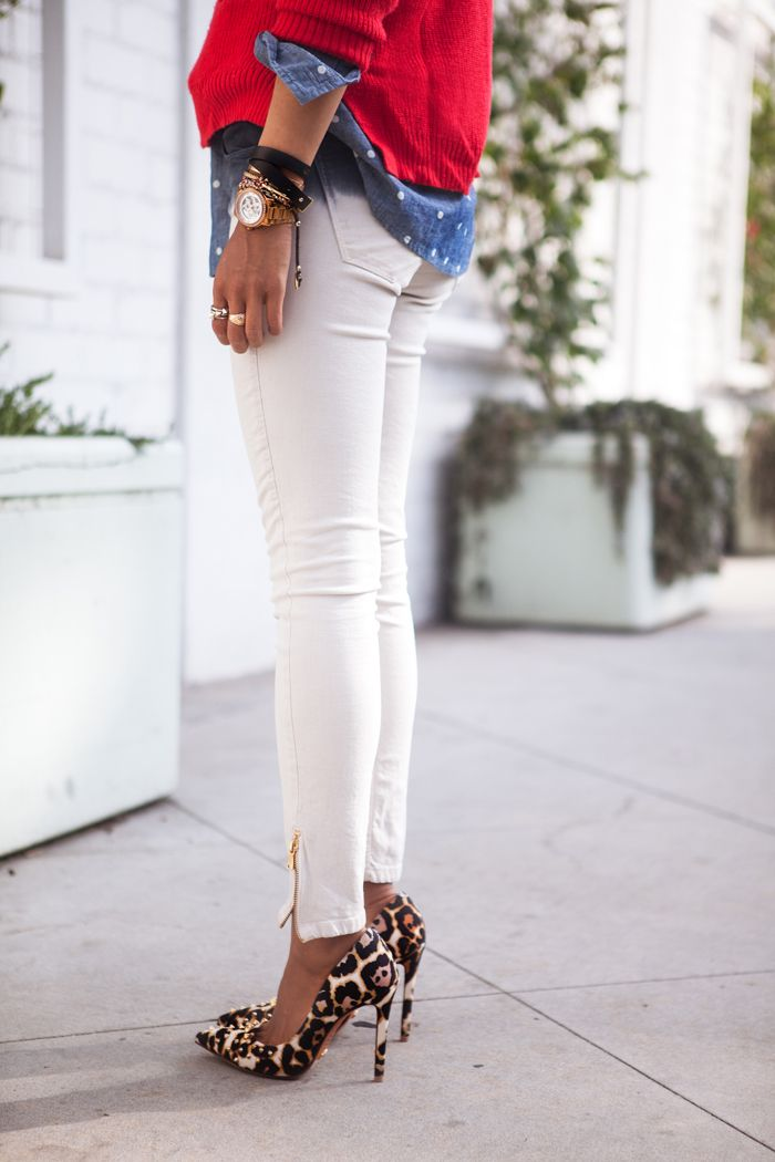 Leopard pumps, winter white skinny jean, chambray shirt polka dots, red sweater