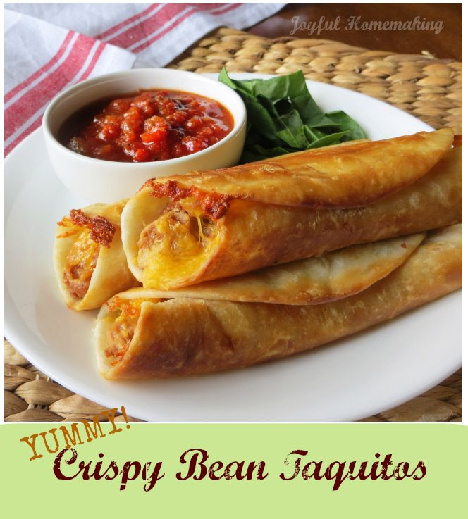 Crispy Bean Burritos (Taquitos) - Joyful Homemaking