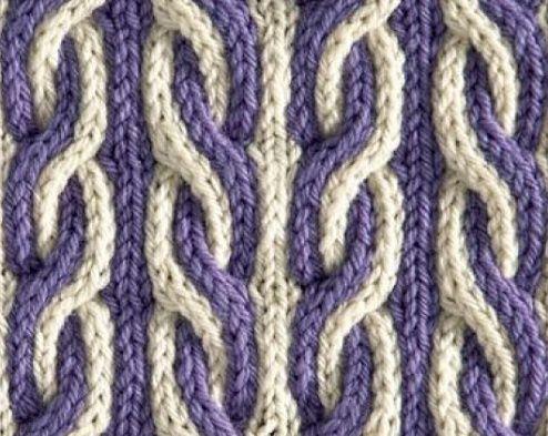 Двухцветные косы / Вязание спицами / Вязание спицами для начинающих