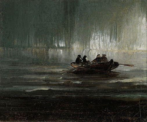 Peder Balke, Northern Lights Over Four Men in a Rowboat, c. 1880