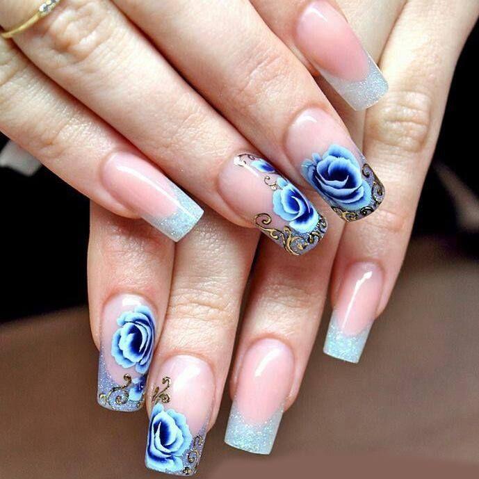 French glitterata con rose blu e azzurre, perfetta ed elegante https://www.facebook.com/photo.php?fbid=10152453052178453&set=pb.271651468452.-2207520000.1399561219.&type=3&theater