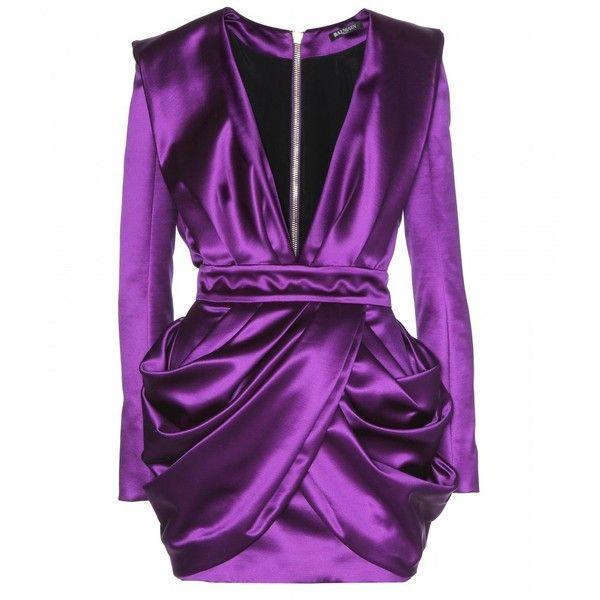 Balmain Wool and Silk-Blend Dress (6.345 RON) ❤ liked on Polyvore featuring dresses, balmain, vestidos, short dresses, purple, short draped dress, wool mini dress, draped cocktail dress, woolen dress and draped dress