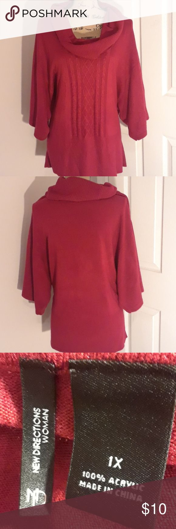 New Directions Woman Cowl Neck Sweater Preowned by me, still in very good condition with very little visual signs of wear exactly as shown in pictures  without any holes stains, markings or serious pulls New Directions Sweaters Cowl & Turtlenecks
