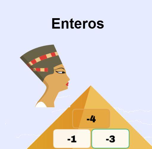 Practica las sumas y las restas de números enteros con la pirámide.