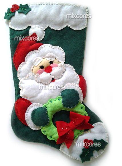 Bota de Natal em Feltro Papai Noel