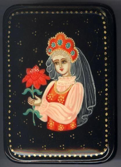 "Russian Kholui Lacquer Box ""The Scarlet Flower Tale"" | eBay"