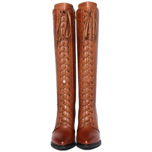 Knee High - Brown Decorated fashion lace-up motorcycle boots | ShoesOfException