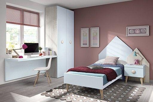 Dormitorio juvenil. Cabecero y mesita. Estilo Rustico Vintage