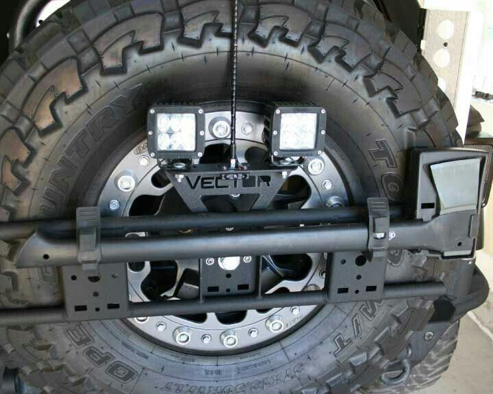 Spare tire used as storage each & extra light placement
