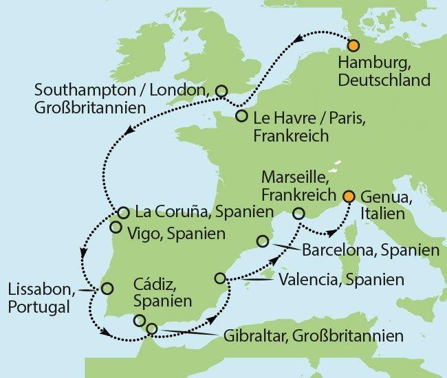 13 Tage Westeuropa Kreuzfahrt: Besuchen Sie London - Paris - Lissabon - Gibraltar - Valencia - Marseille & Genua! Schon ab € 899,- inkl. Flüge und Bus