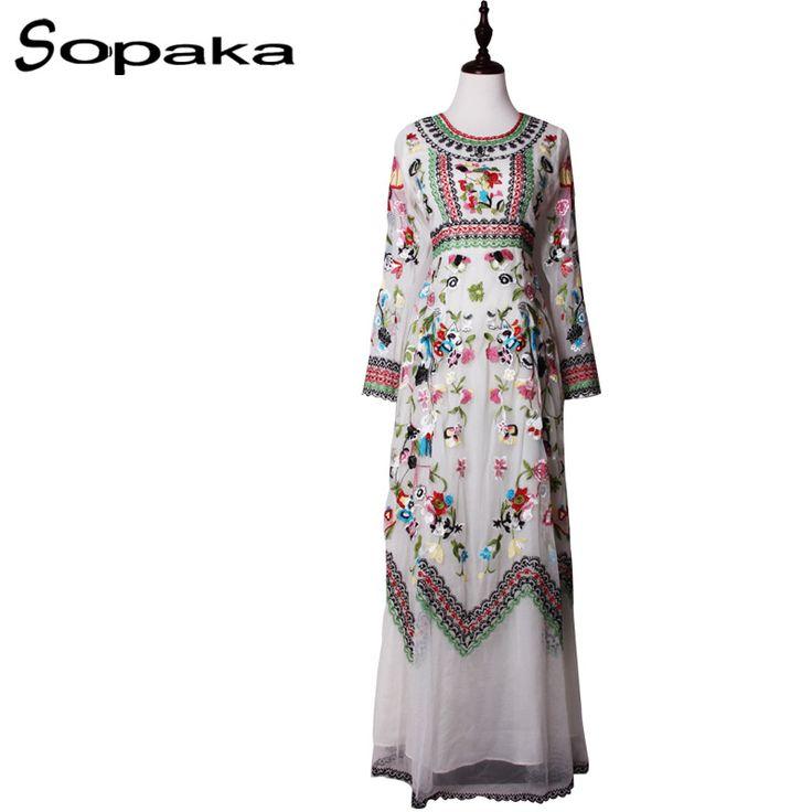 SOPAKA High Quality Embroidery Floral Runway Design Maxi Dress Women . Lace ane Mesh Full Sleeve Back zipper Fashion Long Dress