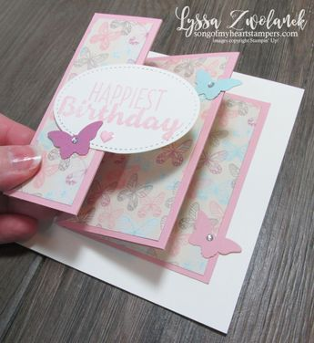 I'm crazy about this brand new fancy fold that I learned at our last demonstrator stamp night! The Fanfare Fold is so stinkin' easy, but a real WOW. You won't believe how addicting these are to make! And they fit in a regular envelope, too. Extra sweet! Ready to try it? Here's what you'll need: 4.25x5.5 inch cardstock base (Very Vanilla shown here) 4.25x11 inch cardstock strip (Blushing Bride shown here) Simply Scored or other scoring tools Tear N Tape or other strong adh...