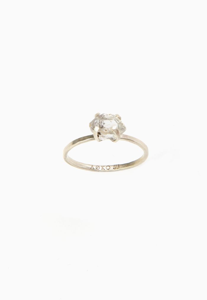 Beautiful, minimalist herkimer diamond ring mined by the artist herself. Set in sterling silver prongs. Hand made by Aoko Su. Hand mined and made in the U.S. Under $100 (yes, really).