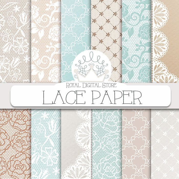 """Lace Digital Paper: """"LACE PAPER"""" with lace background, mint lace, beige lace, lace pattern for scrapbooking, cards, invitations #mint #lace #digitalpaper #shabbychic #wedding #scrapbookpaper #planner #valentine"""