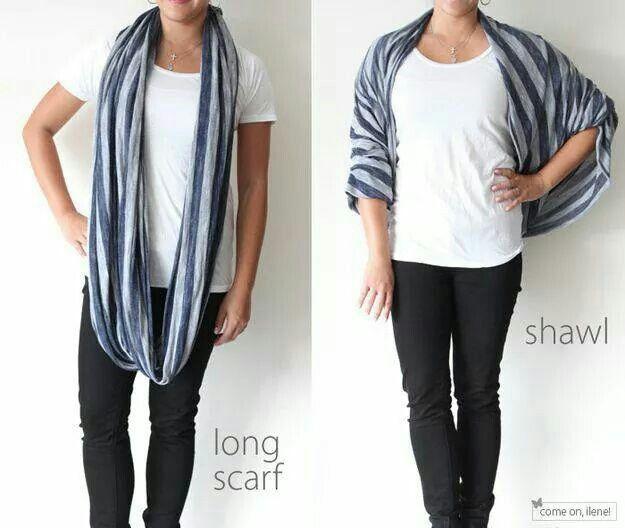 Long scarf into a shawl