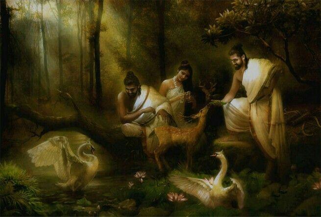 Sita Mahadevi, Sri Ram and Sri Lakshman in the forest