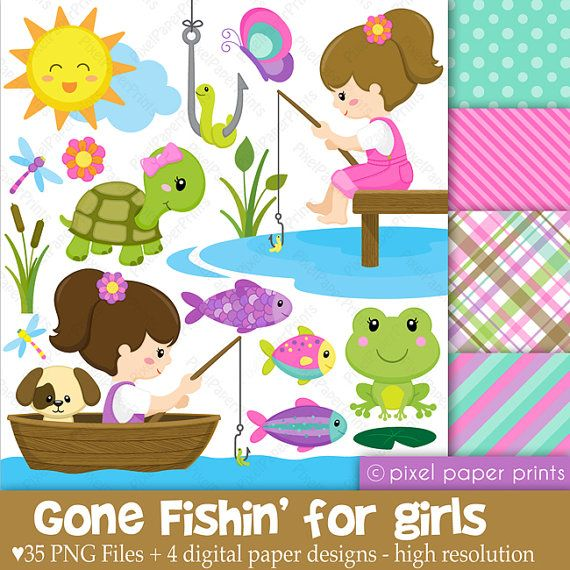 Gone Fishing for Girls  Digital paper and clip by pixelpaperprints