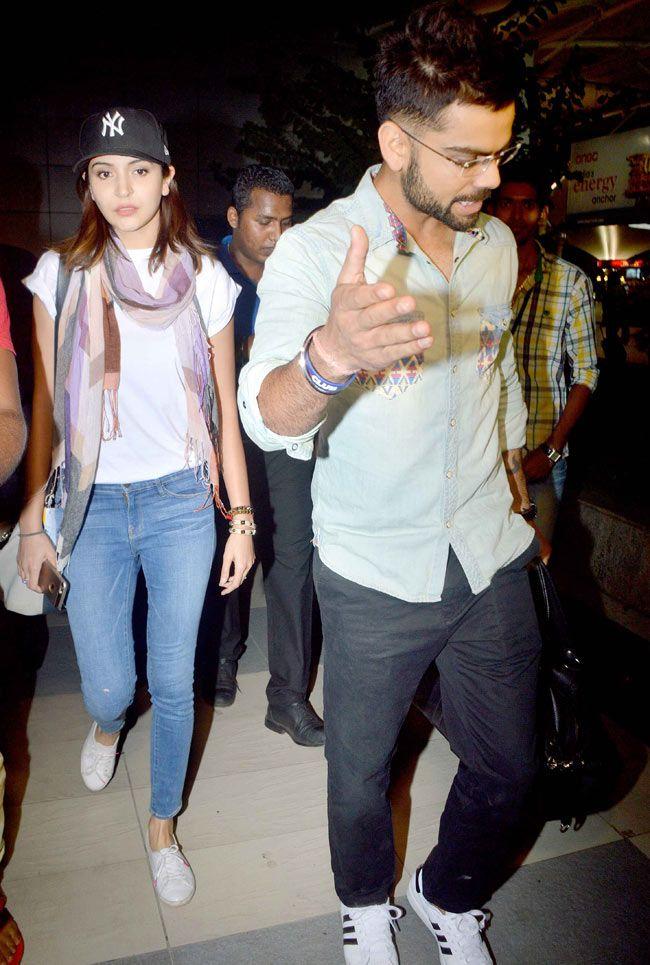 Virat Kohli and Anushka Sharma at Mumbai airport. #Bollywood #Fashion #Style #Beauty