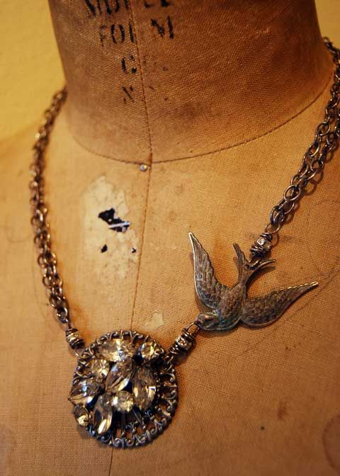 Lots of great vintage find jewelry tutorials on this blog.  http://objectsandelements.typepad.com