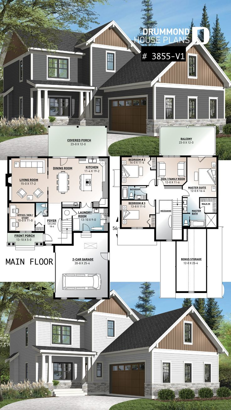 Country cottage house plan with 4 bedrooms, master…