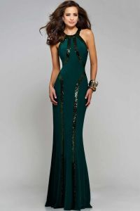 Sexy Green Sequin Trim Evening Gown