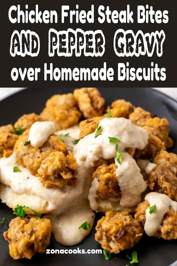 Chicken Fried Steak Bites With Gravy And Homemade Buttermilk Biscuits Have Seasoned Crispy Fried Steak Bites Smothered In 2020 Steak Bites Beef Recipes Stuffed Peppers