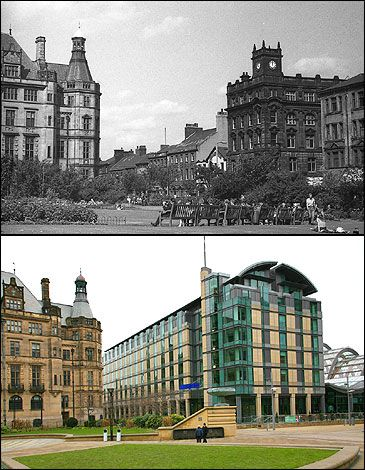 Sheffield Peace Gardens, late 1960s and 2009