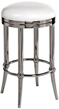 hillsdale cadman shiny nickel 30inch backless bar stool