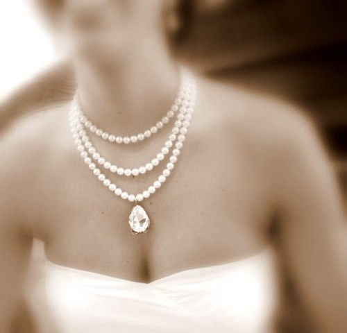 Bridal statement necklace, bridal pearl necklace with Swarovski crystal and Swarovski white pearls, wedding jewelry, wedding necklace. $115.00, via Etsy.