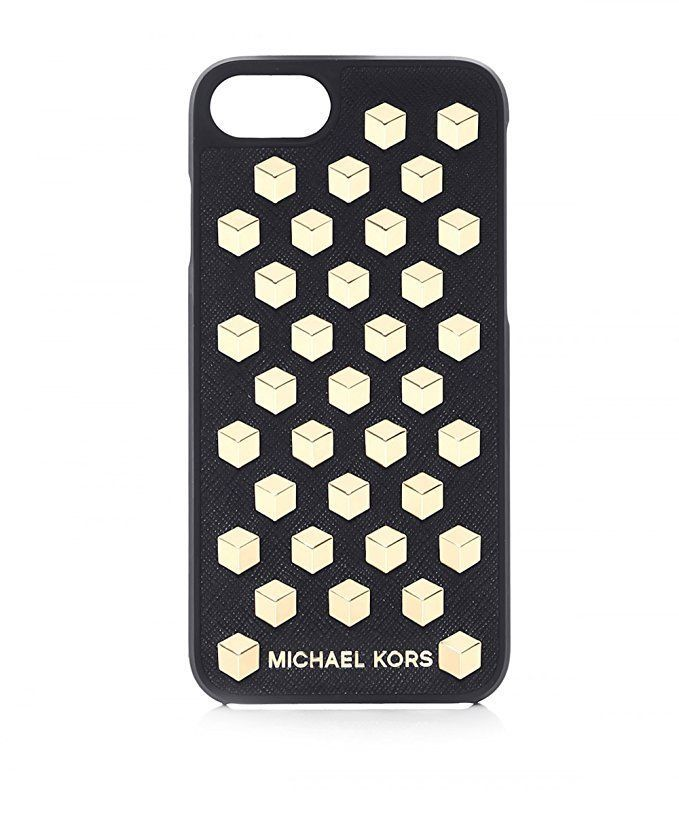 quality design 3d722 fce4f Michael Kors iPhone 7 Snap On Case Black Leather Gold Studded New in ...