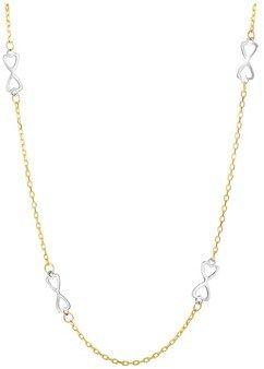 JewelryAffairs 14k 2 Tone Gold Sideways Infinity With Double Heart Necklace.