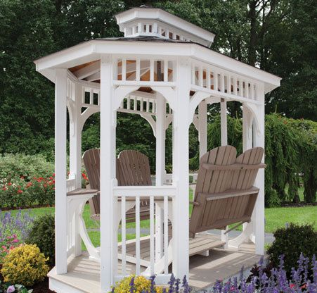 This gazebo with a double lawn glider from Kauffman Lawn Furniture creates  an ideal garden spot. 48 best images about Gazebo Glider Swings on Pinterest   Roof