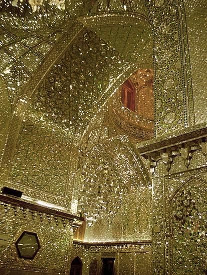 anotheranonymoussoul:  Thousands of tiny cut mirror pieces. King of Light Mausoleum, Shiraz, Iran   Shāh Chérāgh (Persian: شاه چراغ‎) is a funerary monument and mosque in Shiraz, Iran, housing the tomb of the brothers Ahmad and Muhammad, sons of Mūsā al-Kādhim and brothers of 'Alī ar-Ridhā. The two took refuge in the city during the Abbasidpersecution of Shia Muslims.
