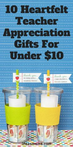 The end of the school year is approaching quickly! If you'd like to give your kids teachers an appreciation gift (that's not a piece of junk!), then pin this list of great idea- all for under $10!