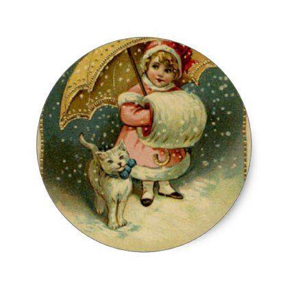 Victorian Vintage Retro Child and Cat Christmas Classic Round Sticker - Xmas ChristmasEve Christmas Eve Christmas merry xmas family kids gifts holidays Santa