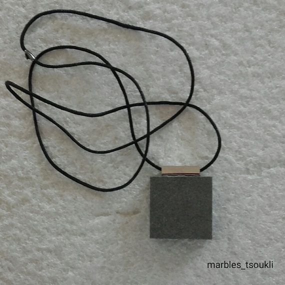 Grey-Olive green Marble Necklace in black cord by Marblestsoukli