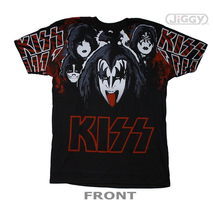 "JiGGy.Com - Kiss - Lick It Up T-Shirt Kiss t-shirt with picture of band members in full make up and Gene Simmons trademark tongue sticking out. The bands KISS logo is on each sleeve of this black 100% cotton t-shirt. Kiss Army members rocked out to ""Lick It Up"" from the band's 1983 release, ""Lick It Up"" released on Mercury records. This extra soft t-shirt runs small so for extra comfort fit please order 1 size up."