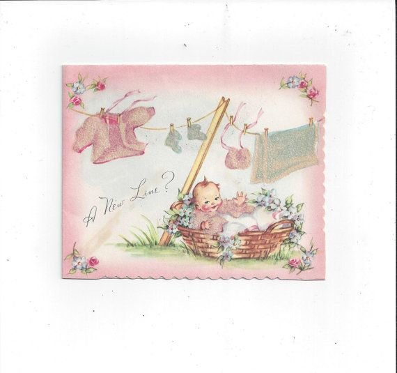 1940s Baby Welcome Card by Chilton USA Cards by VictorianWardrobe