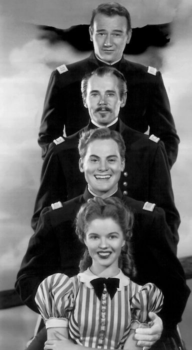 Fort Apache. John Wayne, Henry Fonda, John Agar, and Shirley Temple (Agar )   1948   This film was the first of John Fords  ''cavalry trilogy'' followed by ' She Wore a Yellow Ribbon ' and 'Rio Grande' .