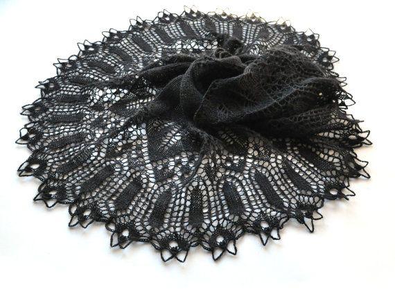 Black Knit Shawl Goth Knit Shawl Lace Shawl Black Lace
