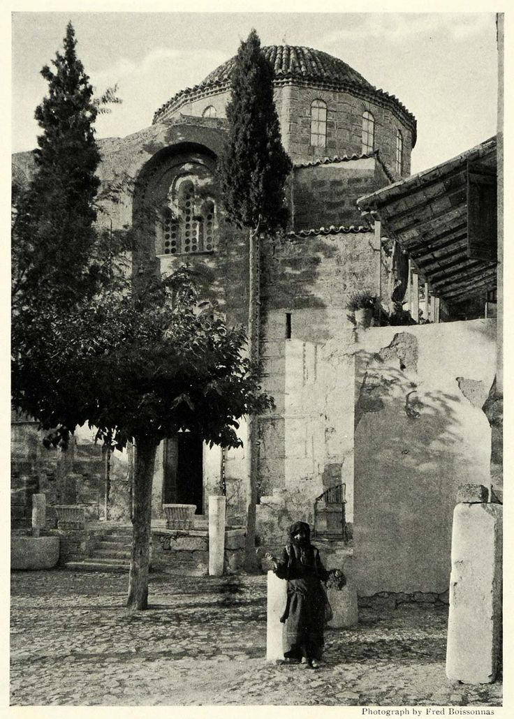 1922; Convent of Daphne on the Sacred Way, a road and the route taken by the Eleusinian Mysteries during processions in Greece. Photograph by Fred Boissonnas. (on Ebay)
